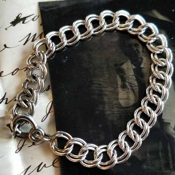 003602a46e0a Vintage Sterling Silver charm bracelet starter 925.  M 5b32976834a4ef54f3f78d96
